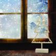 Fenyő ablakdísz, meleg fehér, vezeték nélküli, 20 LED, 39 cm