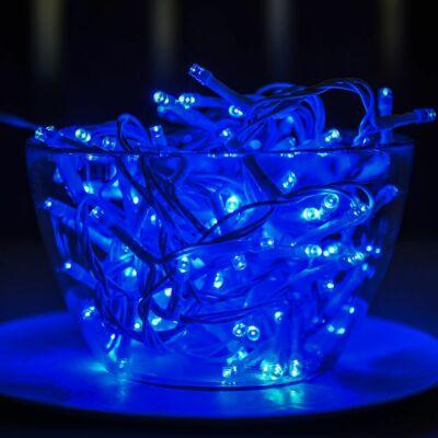 Vezérlős LED fényfüzér fehér kábeles - kék szín 6 m, 120 LED