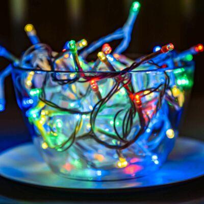 Vezérlős LED fényfüzér fehér kábeles - multi színekben 6 m, 120 LED