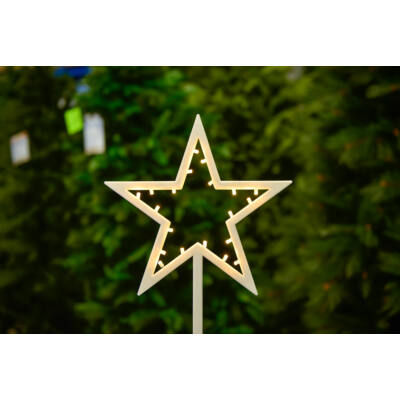 Csillag ablakdísz, meleg fehér, vezeték nélküli, 20 LED, 39 cm