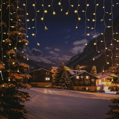 Árkád fényfüggöny, meleg fehét, átlátszó kábel, 2x2 méter, 220 LED