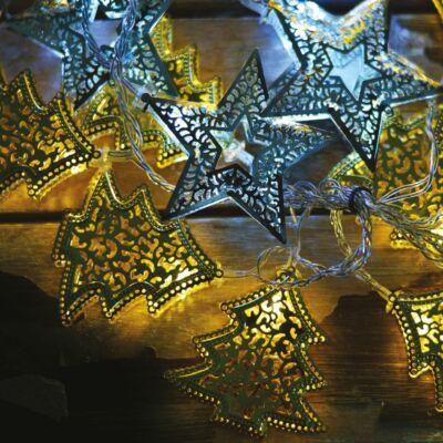 Ezeregyéjszaka fényfüggöny, átlátszó kábel, fenyő és csillag dísz, 64 LED, 1,2x1,2 méter