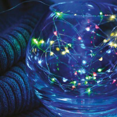 Tündérfény dekorfüzér, multi színek, 50 LED, 5 méter, réz kábel