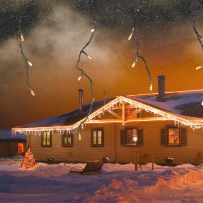 Jégcsapfüzér, meleg fehér, fekete kábel, 3x0,4 m, 101 LED