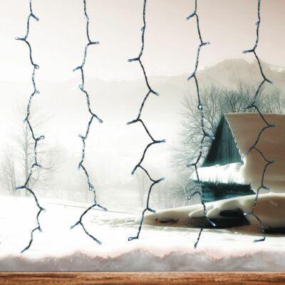 Fényfüggöny, hideg fehér, 1,5x1,5 m, átlátszó kábel, 198 LED