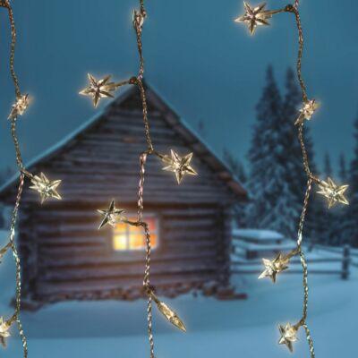 Csillag fényfüggöny, átlátszó kábel-meleg fehér, 0,9x2 méter, 192 LED